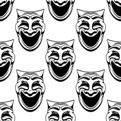 Seamless pattern with theater comedy masks