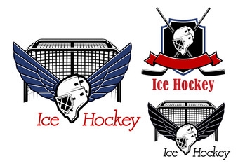 Ice hockey sports emblems and icons