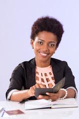 Friendly black office woman working