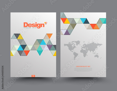 Book Cover Design Costs : Quot template cover with pieces of colored paper triangles