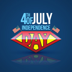 Independence day banner super hero style. Vector illustration. 4th of independence day.