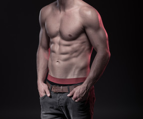 perfect male body with sixpack