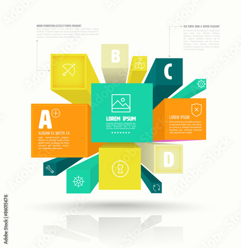 Vector Cube Box For Business Concepts With Icons Can Use For Info