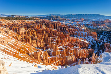 Winter Snow in the Amphitheater in Bryce Canyon National Park, U