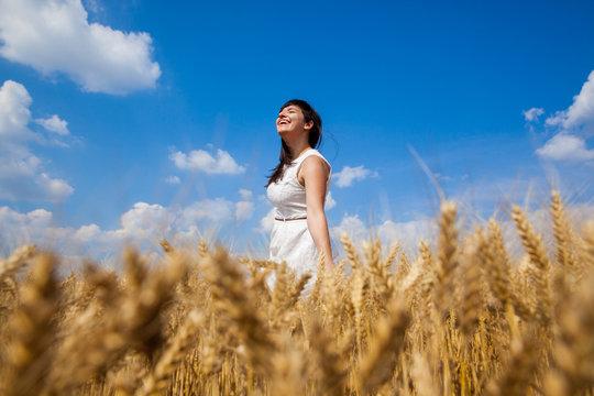 Beautiful Girl Outdoors Enjoying Nature
