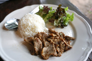Garlic and pepper pork with rice