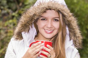 Model in warm hoodie