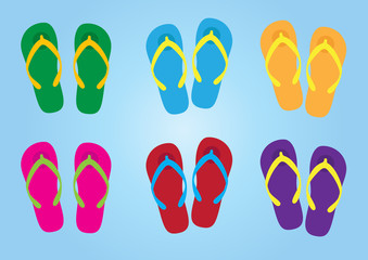 slippers with colorful colors for holiday, slippers vector