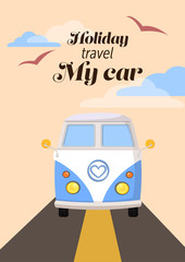 old car family travel enjoy on holiday sign with text retro vector,cloud and bird on the sky illustration