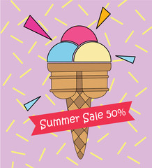 Ice cream pop art summer sale 50% cute colorful , Poster advertisement goods sale or you created