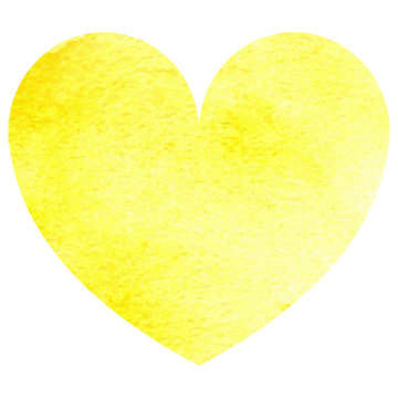 Watercolor vector yellow heart isolated