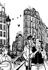 Wall Mural - Jazz band in a street of Paris