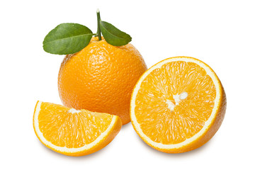 Orange with slices  isolated on white background. Clipping path.