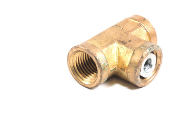 Threaded Copper pipe fitting isolate on white