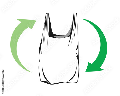 """Vector drawing of a plastic bag with green arrows ..."