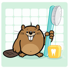 Beaver holding a toothbrush and dental floss