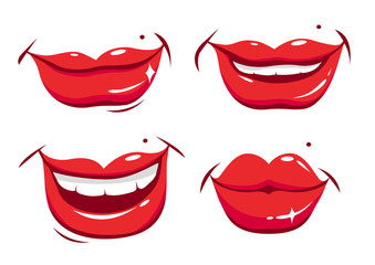 Vector set of sexy smiling female lips
