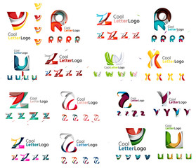 Mega collection of various abstract business emblems - loops