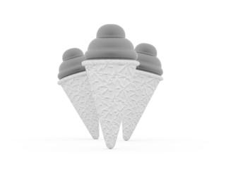 Ice cream black and white isolated