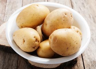 Fresh organic potatoes close up