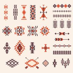 Native american navajo aztec pattern vector set