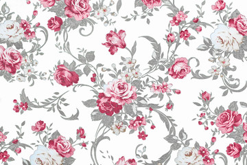 red rose on white fabric background, Fragment of colorful retro