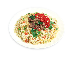 Pasta with meat and pepper