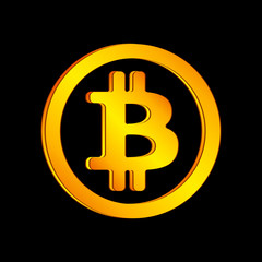 Orange bitcoin icon in a circle on a black background. Vector