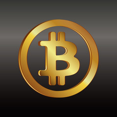 Bitcoin golden icon in a circle on a black and gray background