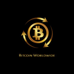 Bitcoin worldwide golden icon in a circle on a black background