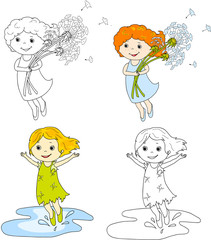 Girl flying with dandelions. Girl jumping in puddles