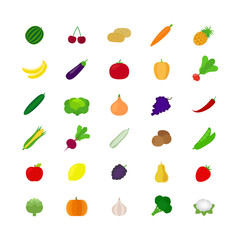 Vegetables and fruit flat icons