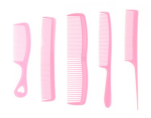 collection pink comb on white background