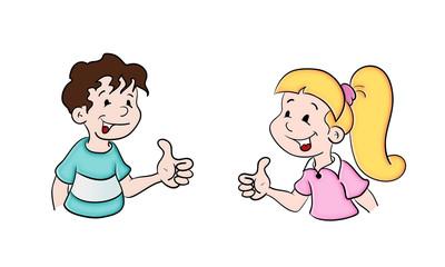 Mädchen und jungen aus