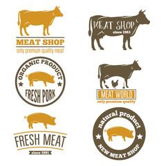 Set of vintage labels, logo, emblem templates for butchery meat