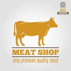Vintage labels, logo, emblem templates of butchery meat shop