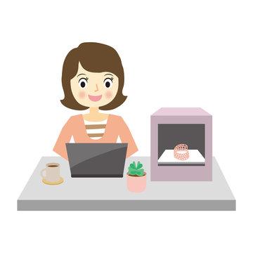 3Dプリンターと女性