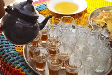 Hot tunisian tea on the tray in the cafe