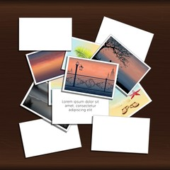 Stack of photos on wood background with place for  inscription. Vector, EPS 10