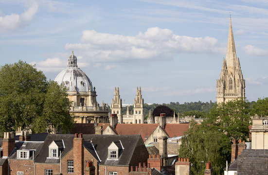Radcliffe Camera (left), All Souls College and University Church of St Mary in Oxford, England