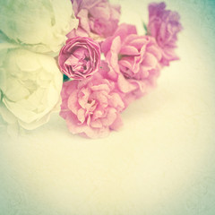 vintage color roses on mulberry paper texture for background