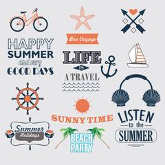set of vector vintage elements for summer holidays