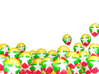 Flying balloons with flag of myanmar