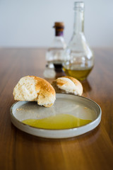 Typical Italian Appetizer: Fresh Crusty Bread and Extra Virgin Olive Oil