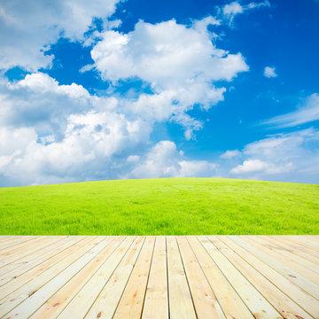 Wood platform  in the  green field