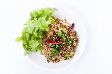 Thai spicy minced pork salad, thai food
