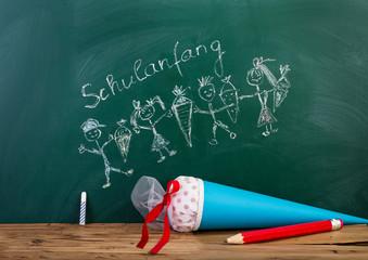 Schulanfangskarte Tafel Kinder