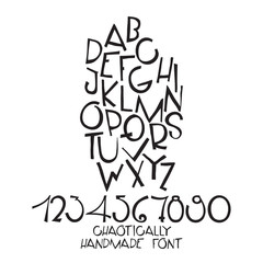 Chaotic decorative vector alphabet. Hand drawn letters, numbers