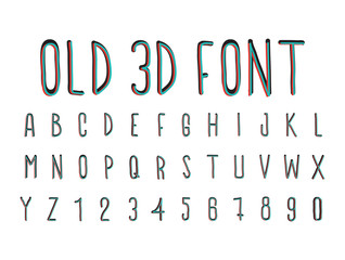 Colorful old 3D font, stereoscopic effect