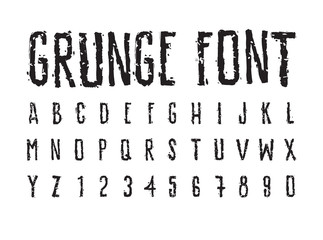 Decorative careless grunge font, bold letters